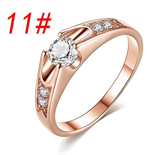 OASIS LAND Jewelry Popular Round Zircon Micro-Inlaid Lover Wedding Ring Plating Platinum Rose Gold Ring