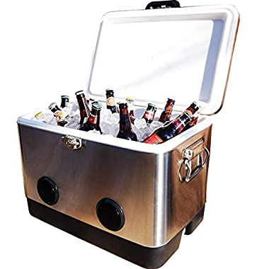 BREKX 54 Quart Double-Walled Stainless Steel Party Cooler with High-Powered Tailgating Bluetooth Speakers As Seen On TV - Works with iPhone, Android, Laptops
