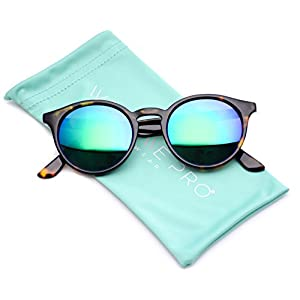 WearMe Pro Classic Small Round Retro Sunglasses, Tortoise Frame /Mirror Green Lens