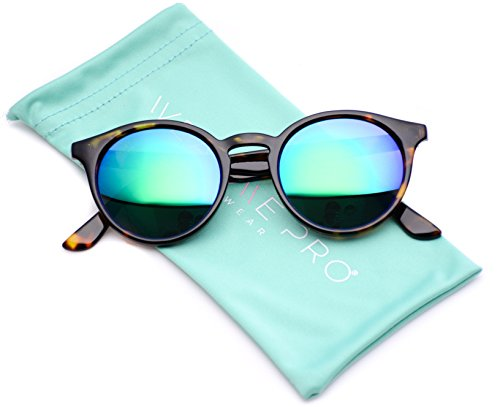 WearMe Pro Classic Small Round Retro Sunglasses, Tortoise Frame /Mirror Green - Tortoise Frame Sunglasses