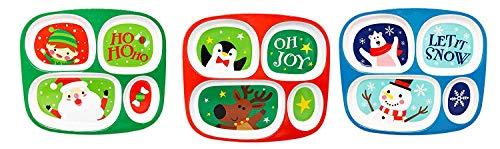 4 Section Melamine Children's Plates: Santa and Penguin Designs (4 Pack) (Plates Kids Christmas For Melamine)