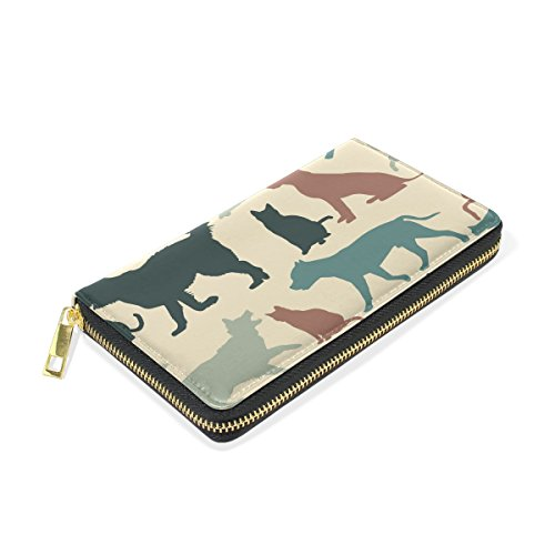Zip Handbags TIZORAX Around Womens Purses Wallet Organizer And And Cats Dogs Vintage Clutch vqrAvwz