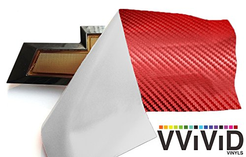 VViViD XPO Red Carbon Fiber Chevy Bowtie Logo Wrap Kit (6 rolls (11.8'' x 4'') + squeegee)