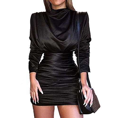LLYGE Womens Long Sleeve Ruched Slit Stand Collar Elastic Mini Bodycon Party Dress Black L