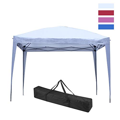 Leisurelife Waterproof 10'x10' Pop Up Wedding Tent with Side-Outdoor Folding Commercial Gazebo Canpy Tent White ()