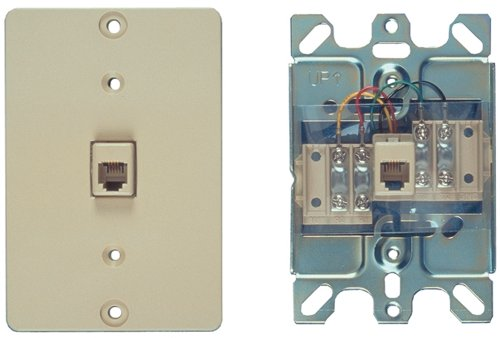 Allen Tel Products AT630AQB-4 Plastic Single Gang, 1 Port, 6 Position, 4 Conductor Wall Telephone Outlet Jack, Ash