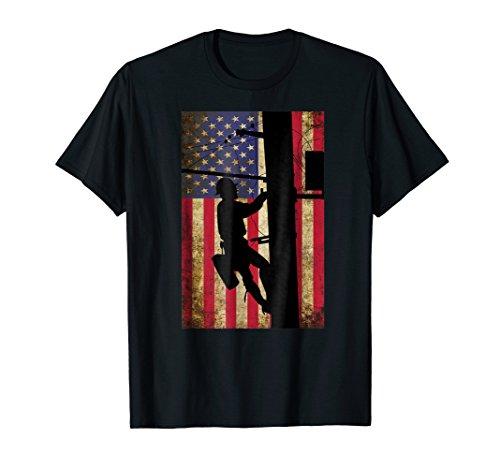 Mens Lineman American Flag Shirt   Electric Cable Lineman Gift 2XL - Shirts Lineman