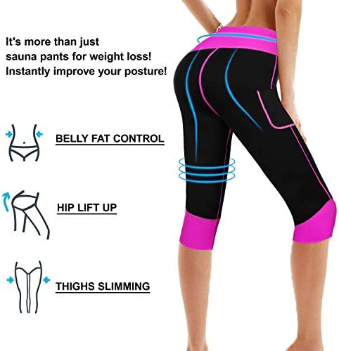Women Weight Loss Hot Neoprene Sauna Sweat Pants with Side Pocket Workout Thighs Slimming Capris Leggings Body Shaper 6