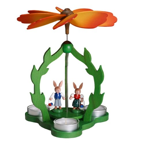 Zeidler Bunny Rabbit with Children Tealight Pyramid, 9in,