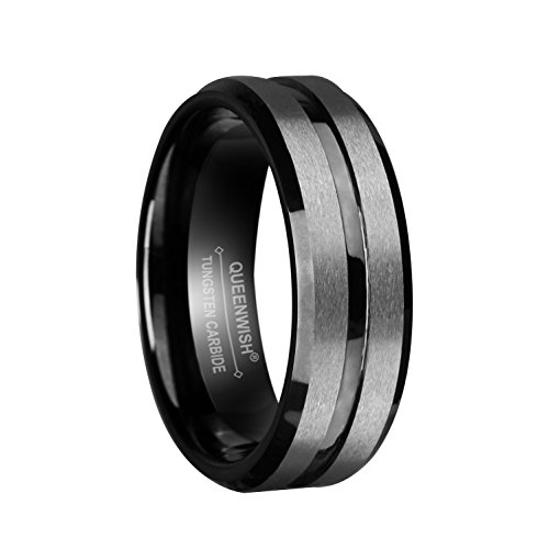 Queenwish 8mm Mens Black Silver Tungsten Carbide Wedding Bands Brushed Matte Grooved (Antique Eternity Wedding Ring)