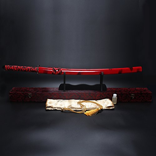 "Splendent Furniture 38"" Handmade Japanese Full Tang Sword T1060 Carbon Steel Blade with Wooden Holder/Stand 4 Colors (Red Sheath & Red Box)"