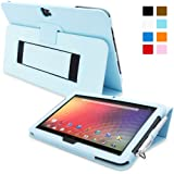 Snugg™ Nexus 10 Case - Smart Cover with Flip Stand & Lifetime Guarantee (Baby Blue Leather) for Nexus 10