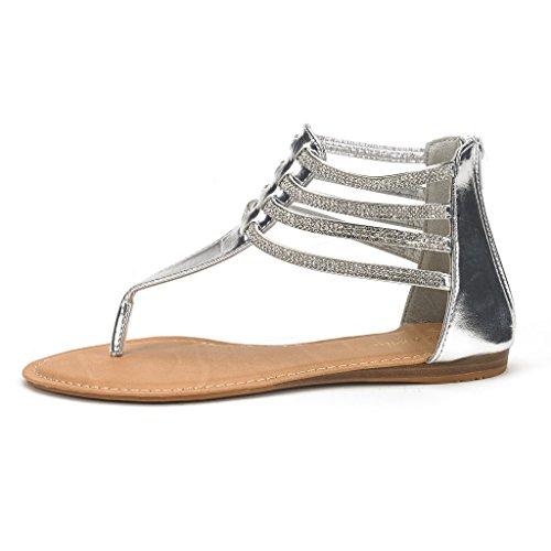 DREAM PAIRS Rockstar Womens Glamorous Gladiator Thong Strap Back Zipper Ankle Straps Flat Sandals Z-rockstar-silver ZwxpOG