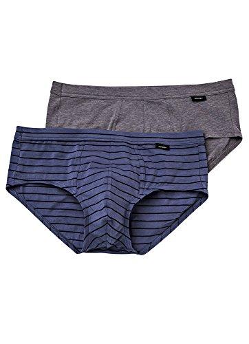 Jockey Men's Underwear Low-Rise Cotton Stretch Brief - 2 Pack, grey heather/luke stripe, S (Cotton Stretch Low Rise Brief)