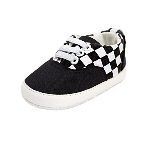 Baby Boys Girls Basic Canvas Sneaker Lace Up Infant Prewalk Shoes(0-18 Months) (11cm(0-6 Months), E-Black)