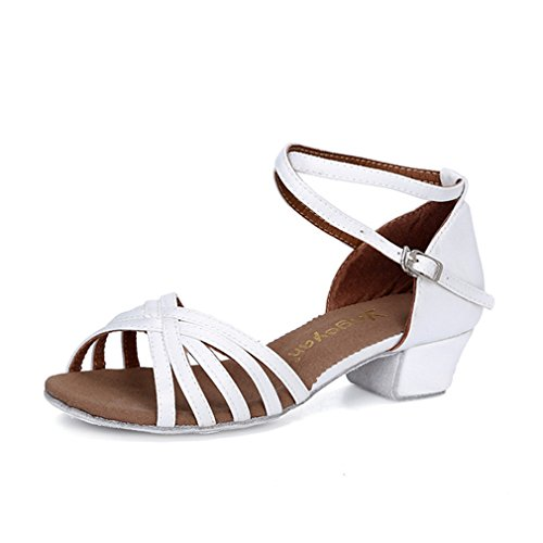 Strap Soft BYLE Low Shoe Jazz Ankle Modern Dance Satin Children's Shoes Sandals Dance Breathable Bottom Girls White Onecolor Dance Latin Leather Samba Shoes qOnwOtfr