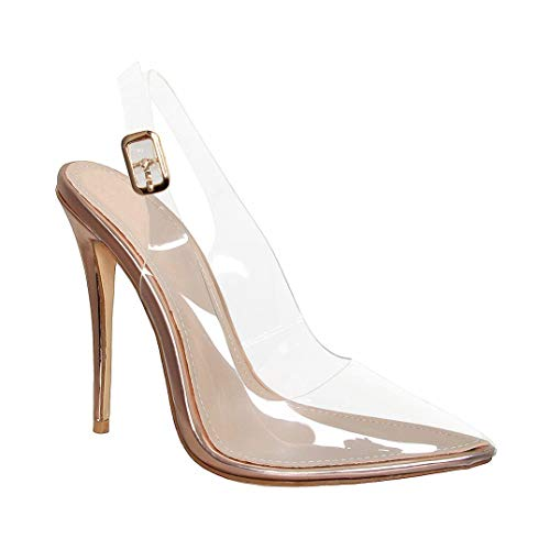 Hell&Heel Clear Slingback Stiletto Court Shoes Rose Gold US ()