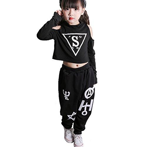 OnlyAngel Girls Hip-hop Dance Long Sleeve Tee & Elastic Waist Pant Performance Outfits Size 4-13 Years (7-8 Years) by OnlyAngel