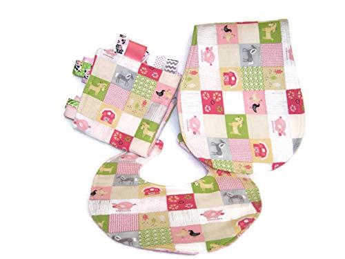 - Baby Girl Pink & Green On The Farm Themed Bib, Burp Cloth & Lovie Gift Set