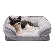 Furhaven Pet Dog Bed - Cooling Gel Memory Foam Velvet Waves Perfect Comfort Traditional Sofa-Style Living Room Couch Pet Bed with Removable Cover for Dogs and Cats, Granite Gray, Small (88249537)