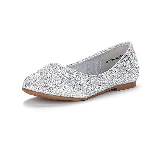 DREAM PAIRS Little Kid Muy-Shine Silver Glitter Girl's Mary Jane Ballerina Flat Shoes - 13 M US Little ()
