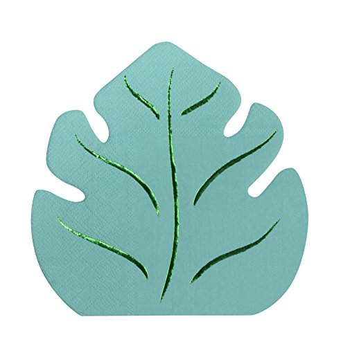 Cocktail Napkins - 50-Pack Luncheon Napkins, Disposable Paper Napkins Birthday Party Supplies, 2-Ply, Tropical Monstera Leaf Die-Cut Shaped Design with Green Foil, Folded 6.4 x 6.2 Inches