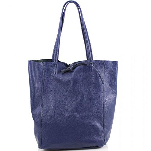 Craze London Women Genuine Italian Leather Shoppers Handbag,Ladies Open Top Real Italian Leather Handbags Navy