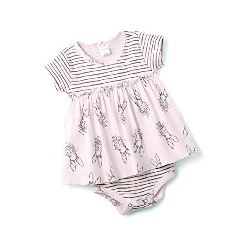 Tesa Babe Spring Bunny Floral Skirted Bodysuit, Newborn & Infant Girls Cotton Bodysuit, Pink (6-12 Months)