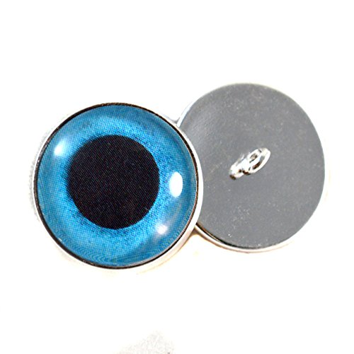 Blue Snow Owl Sew On Glass Eyes16mm Buttons with Loop for Crocheted Doll Stuffed Animal Soft Sculptures or Jewelry Making Crafts - Set of 2