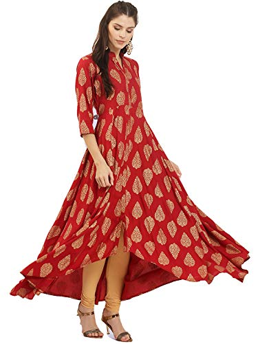 (Dream Angel Fashion Women Dress Kurti Bollywood Designer Printed Anarkali Suit Kurta Ready to Wear (Large-38, Red))