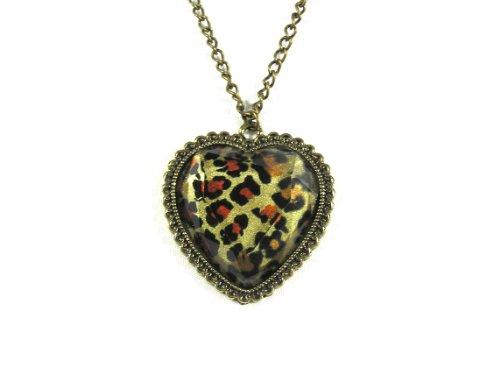 Magic Metal Leopard Print Heart Necklace Animal Cheetah NI00 Vintage Antique Love Crystal Pendant