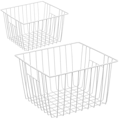 Homics Freezer Wire Baskets, Metal Wire Storage Baskets for Chest Freezer Upright Refrigerator, Organizer Bins with Handles for Household, Kitchen, Cabinets, Closets, Pantry and Bedroom - 2 Pack (White Baskets With Storage Chest)