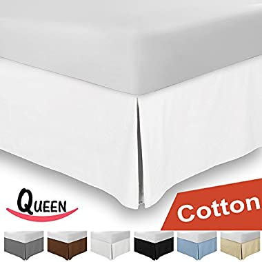 Combed Cotton Sateen Queen Bed-Skirt White - 100% Finest Quality Long Staple Fiber - Durable, Comfortable & Abrasion Resistant, Quadruple Pleated, Cotton Blended Platform - By Utopia Bedding