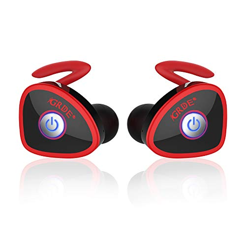 Wireless Earbuds, totobay Ture Completely Wireless V4.1 Dual Mini Bluetooth Headphones Twin Stereo Sweatproof Sport Earphones with Mic for Samsung S9/8 Edge and More (Red)