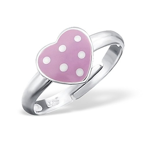 Polished and Nickel Free Liara Heart Ring Adjustable with Epoxy Sterling Silver 925