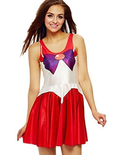 Ninimour- Digital Print Sailor Moon Mercury Venus Jupiter Skater Dress (red)