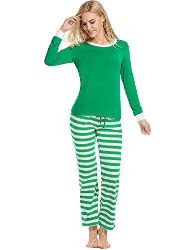 Teamyy Conjunto de Pijama casual de manga larga para mujer Verde