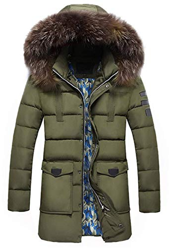 Down Boy Laisla Winter Winter fashion Long Outdoor Jackets Men's Thick Hooded Grün Windproof Clásico Jacket Cotton Detachable Winter Parka Coat Hood Coat Warm WqFqYc1xn