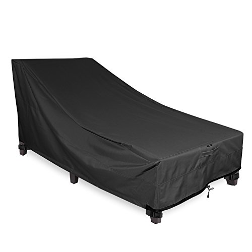 (Chaise Lounge Cover - KHOMO Gear - Panther Series - Heavy Duty Patio Furniture Cover - Black)