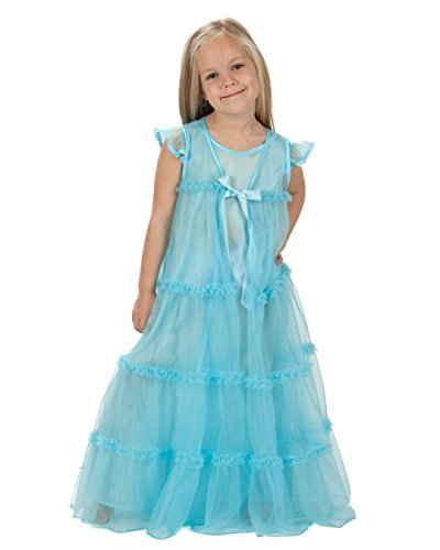 Laura Dare Big Girls Ice Blue Princess Peignoir Nightgown and Robe Set, 12