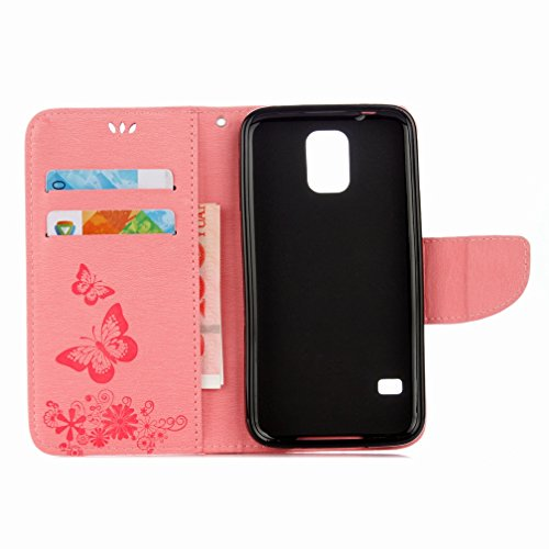 Case Pu Yiizy Shell Slot G900f Shell Bumper Samsung Flower Flip Design Flap Leather Housing Case Premium S5 Skin Card Galaxy Butterfly Wallet Slim Cover Case Cover Stand Protective prPZpqx