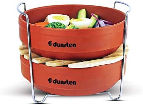 Dunsten - Vaporizador apilable para insertar ollas a presión (6 y 8 de cuarto) Eficiente, seguro para los alimentos, mango de acero inoxidable, sartenes de ...