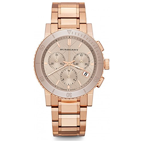 Burberry The City SWISS LUXURY CERAMIC Women 38mm Round Rose Gold Chronograph Watch Rose Gold Band Nude Sunray Date Dial - Rose Burberry Pink