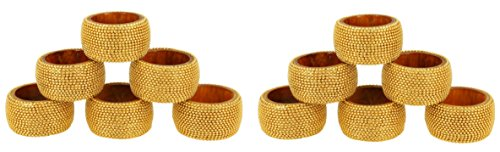 Napkin Aluminum Rings (Handmade Indian Gold Aluminum Ball Chain Wooden Napkin Rings - Set of 12 Rings)