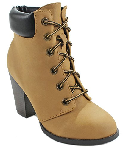 JJF Shoes Demo05 Camel Military Combat Lace Up Chunky Mid Heel Ankle Dress Booties-8.5