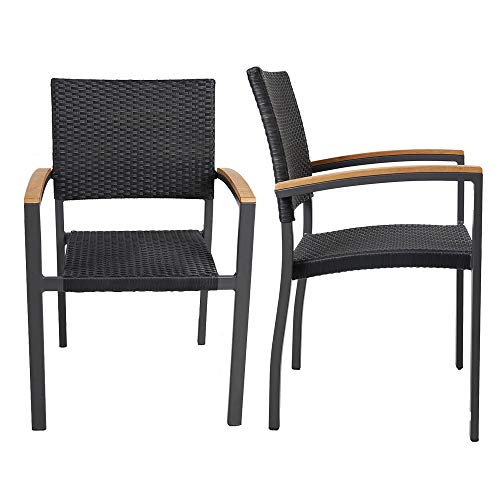 Doprticus Patio Rattan Stackable Dining Chairs with Armrest, Indoor – Outdoor Use Set of 2
