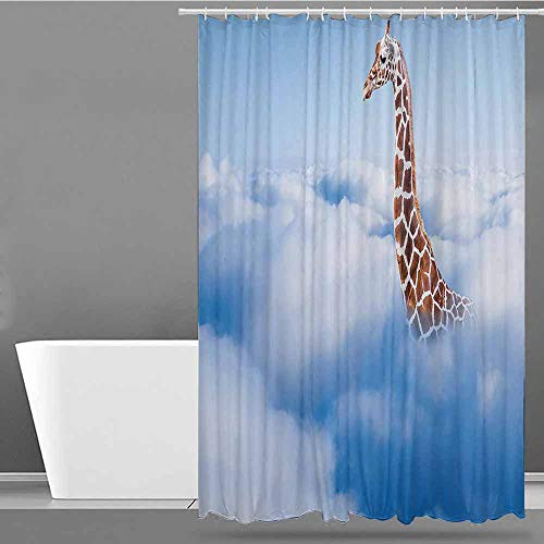 XXANS Kids Bathroom Shower Curtain,Giraffe,Single stall Shower Curtain,W55x86L White Brown