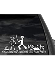 "Funny Stick Figure Family Ninjas Don't Care Sticker Decal 12""x 5"" in White"