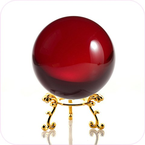 (Amlong Crystal Red Crystal Ball 60mm (2.3 in.) Including Golden Flower Stand and Gift Package)