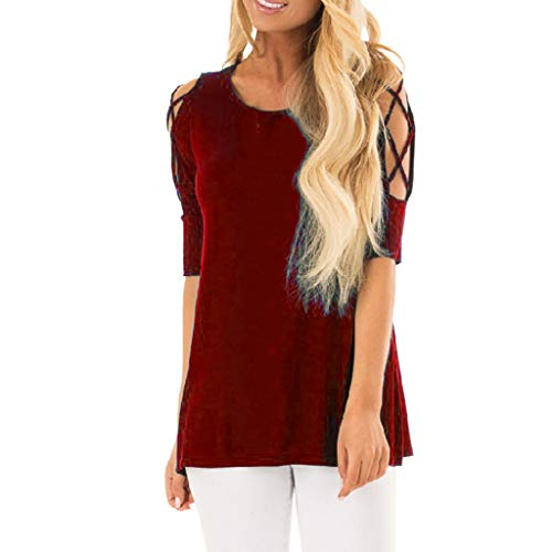 Sunhusing Women's Comfort Solid Color Round Neck Shirt Top Off Shoulder Cross Strap Short Sleeve T-Shirt Wine
